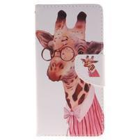 Lethy knižkové puzdro na telefon Huawei P9 Lite - žirafa