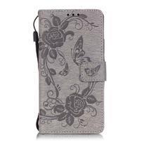 Květinoví motýlci peněženkové pouzdro na Huawei P9 Lite - šedé