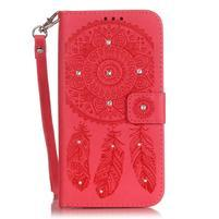 Dream PU kožené puzdro s kamienkami na Huawei P9 Lite - červené