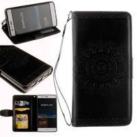 Mandala PU kožené puzdro na Huawei P9 Lite - čierne