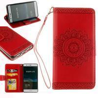 Mandala PU kožené puzdro na Huawei P9 Lite - červené