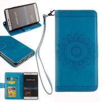 Mandala PU kožené puzdro na Huawei P9 Lite - modré