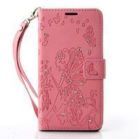 Víla PU kožené pouzdro s kamínky na Huawei P9 Lite - růžové