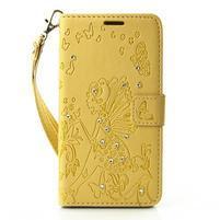 Víla PU kožené pouzdro s kamínky na Huawei P9 Lite - žluté