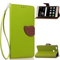 Leaf PU kožené pouzdro na Huawei P9 Lite - zelené