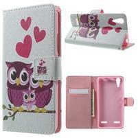 Emotive peňaženkové puzdro pre mobil Lenovo A6000 - soví rodinka