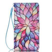Peňaženkové puzdro Huawei Ascend P8 Lite - kvetinové lístky