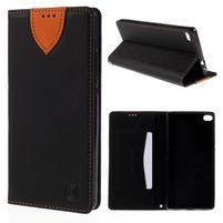 Style peňaženkové puzdro na Huawei Ascend P8 - čierné