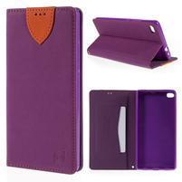 Style peňaženkové puzdro na Huawei Ascend P8 - fialové