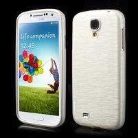 Gélový kryt s brúseným vzorem pre Samsung Galaxy S4 - biely