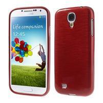 Gélový kryt s brúseným vzorem pre Samsung Galaxy S4 - červený