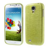 Gélový kryt s brúseným vzorem pre Samsung Galaxy S4 - žlutozelený