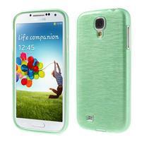 Gélový kryt s brúseným vzorem pre Samsung Galaxy S4 - azúrový
