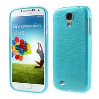 Gélový kryt s brúseným vzorem pre Samsung Galaxy S4 - modrý