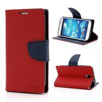 Fancy peňaženkové puzdro pre Samsung Galaxy S4 - červené