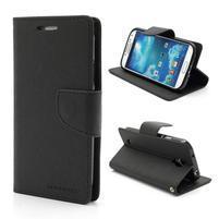 Fancy peňaženkové puzdro pre Samsung Galaxy S4 -  čierné