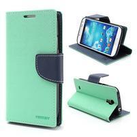 Fancy peňaženkové puzdro na Samsung Galaxy S4 -  azurové