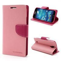 Fancy peňaženkové puzdro pre Samsung Galaxy S4 -  ružové