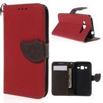 Červené/hnedé peňaženkové puzdro pre Samsung Galaxy Core Prime