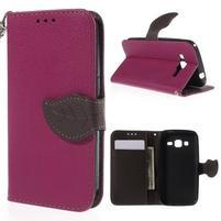Rose/hnedé peňaženkové puzdro pre Samsung Galaxy Core Prime