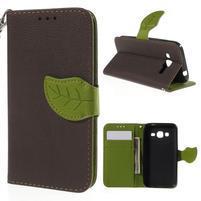 Hnedé/zelené peňaženkové puzdro pre Samsung Galaxy Core Prime