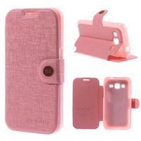Zapínací peněženkové pouzdro na Samsung Galaxy Core Prime - růžové
