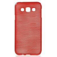 Broušené gélový kryt pre Samsung Galaxy E5 - červený