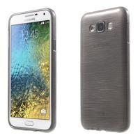 Brúsený gélový obal pre Samsung Galaxy E7 - šedý