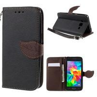 Čierné/hnedé zapínací peňaženkové puzdro pre Samsung Galaxy Grand Prime