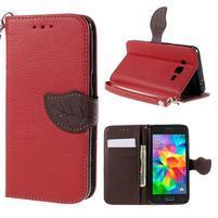 Červené/hnedé zapínací peňaženkové puzdro pre Samsung Galaxy Grand Prime