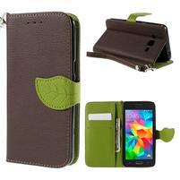 Hnedé/zelené zapínací peňaženkové puzdro pre Samsung Galaxy Grand Prime