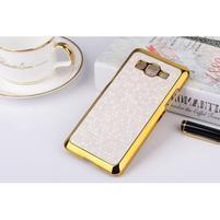 Luxusný kryt se zlatým lemem pre Samsung Grand Prime - biely