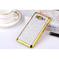 Luxusný kryt se zlatým lemem pre Samsung Grand Prime - strieborný