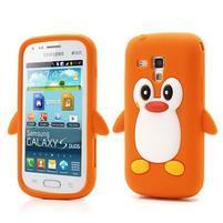 Silikonový obal tučniak pre Samsung Galaxy S Duos - oranžový