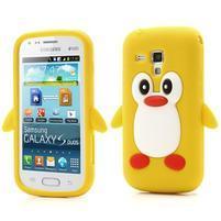 Silikonový obal tučniak pre Samsung Galaxy S Duos - žltý
