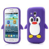 Silikonový obal tučňák na Samsung Galaxy S Duos - fialový