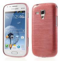 Broušený gélový kryt na Samsung Galaxy S Duos - růžový