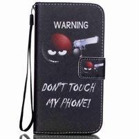 Knížkové PU kožené puzdro pre Samsung Galaxy S5 - varujem ťa