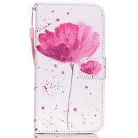 Knížkové PU kožené puzdro pre Samsung Galaxy S5 - makový kvet