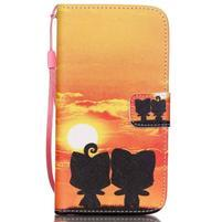 Knížkové PU kožené puzdro pre Samsung Galaxy S5 - západ slnka