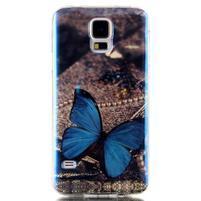 Blu-ray gélový obal s odlesky pre Samsung Galaxy S5 - motýlek