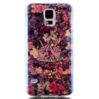 Blu-ray gélový obal s odlesky pre Samsung Galaxy S5 - kvety