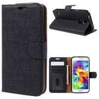 Clothy Pu kožené puzdro pre Samsung Galaxy S5 - čierne