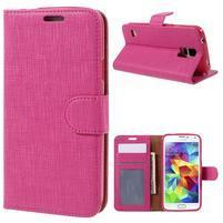 Clothy Pu kožené puzdro pre Samsung Galaxy S5 - rose