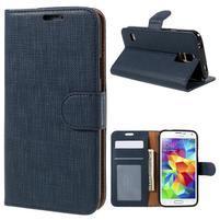 Clothy Pu kožené puzdro pre Samsung Galaxy S5 - tmavomodré
