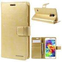 Bluemoon PU kožené puzdro pre Samsung Galaxy S5 - zlaté