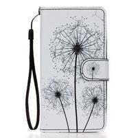 Knížkové PU kožené puzdro pre Samsung Galaxy S5 - odkvetlé púpavy