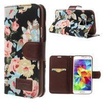 Kvetinové puzdro pre mobil Samsung Galaxy S5 - čierne pozadie
