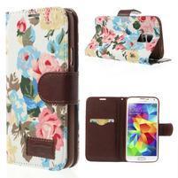 Kvetinové puzdro pre mobil Samsung Galaxy S5 - biele pozadie