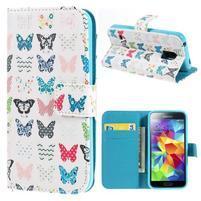 Emotive PU kožené pouzdro na Samsung Galaxy S5 mini - motýlci